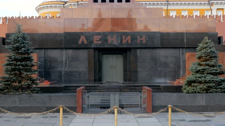 lenin : the Mausoleum of Lenin on Red square in Moscow in daytime, entrance, close-up
