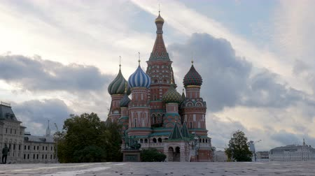 lenin : St Basil Cathedral in cloudy morning, empty Red Square, view from ground Stock Footage
