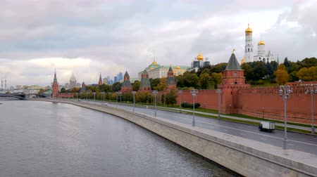 state capital : empty embankment of Moscow river near Kremlin walls in morning time, view from bridge