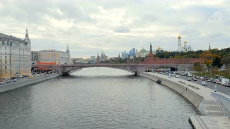 state capital : cloudy weather in Moscow, view on river and embankments on both shore, historical centre