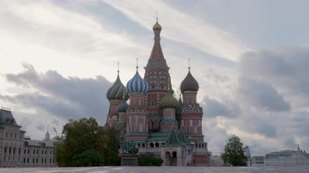 lenin : St Basil Cathedral in cloudy morning, empty Red Square