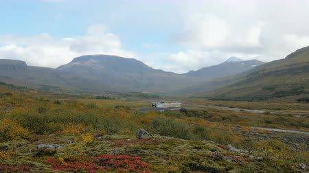 islandia : wonderful bottomland between mountains in Iceland, red, yellow and green grass in cloudy fall day
