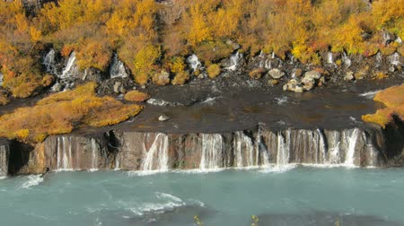 hraunfossar : Hraunfossar waterfalls are in western Iceland in sunny autumn weather