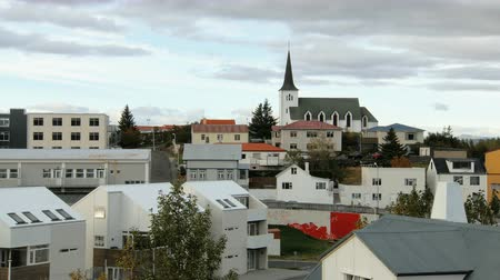 reykjavik : roofs and houses in small icelandic town in autumn day, nordic minimalistic architecture