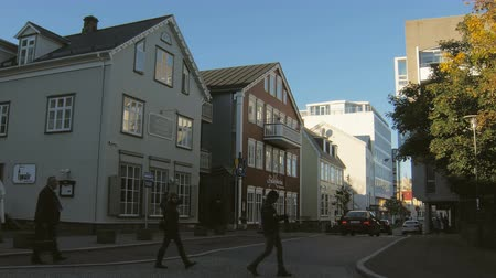 reykjavik : Reykjavik, Iceland - SEP, 2016: tourists and citizens are walking over small cozy streets