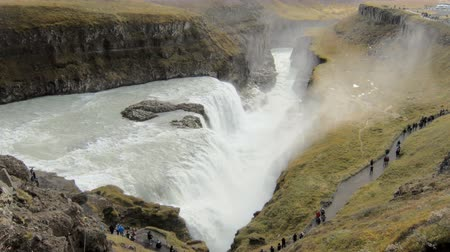gullfoss : view on a famous icelandic waterfall Gullfoss and Hvita river valley at the bottom in fall day Stock Footage