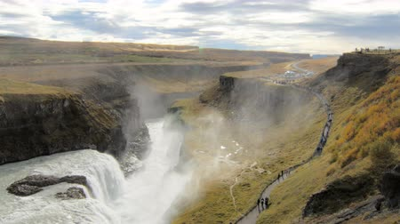 gullfoss : view on valley with waterfall Gullfoss and Hvita river in Iceland in clear weather in autumn day