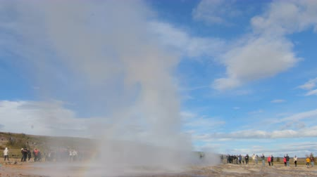 strokkur : eruption of powerful geyser Strokkur in Iceland in a Haukadalur valley area, in sunny fall day Stock Footage