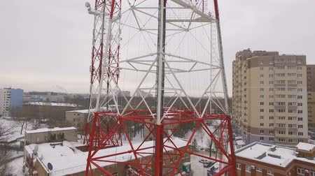 microonda : aerial view on a telecommunication tower in a winter cloudy daytime