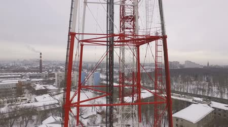 truss : aerial view on a telecommunication tower in a winter cloudy day