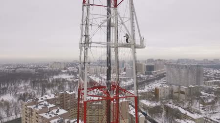 truss : aerial shot of a television tower in a winter cloudy day