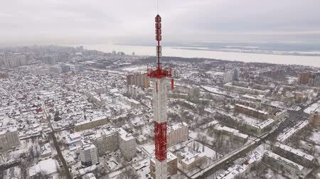 микроволновая печь : aerial view on tv tower in a large city near river in a winter day
