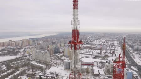 truss : aerial panorama of large city and Telecommunications tower, radio and tv broadcasting