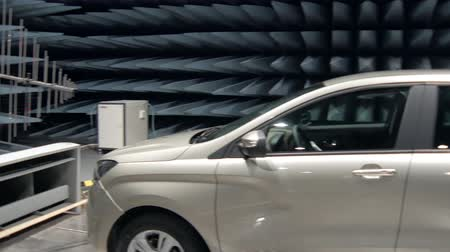 absorption : testing of new car in radio-frequency anechoic chamber, panorama