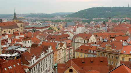 Богемия : static shot of amazing view of Prague city in summer from top, red roofs