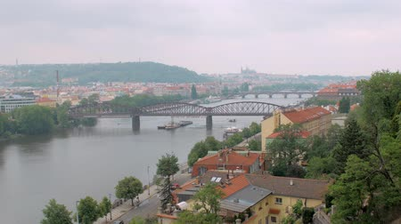 shores : beautiful view of Prague in cloudy weather from hill