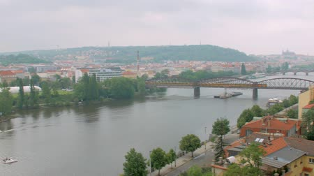 prag : marvelous view of Prague in cloudy weather from hill