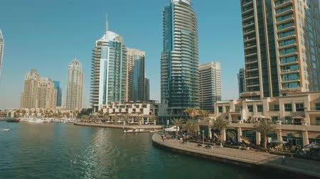 Dubai, cityscape near Marina canal in modern district in town