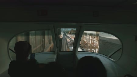 view inside monorail train in Dubai