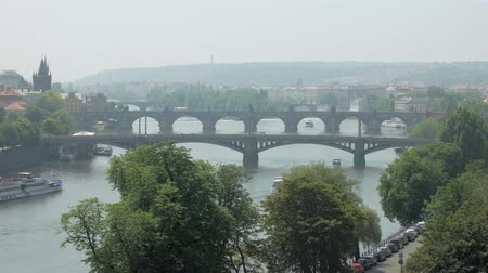 beautiful old and modern bridges over Vltava river in Prague