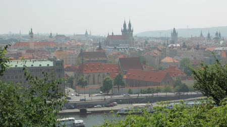downtown of ancient european city in summer day, old gothic architecture, buildings and churches Стоковые видеозаписи