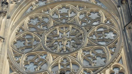 amazing rose window on gothic cathedral building, close-up Стоковые видеозаписи