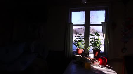 front door : The window of the house. Outside the window, a lot of snow, village houses