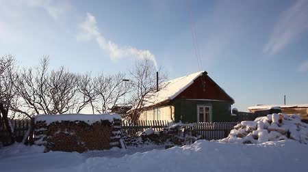 Beautiful house in the village in winter
