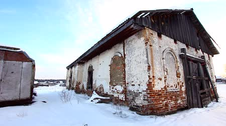 An old abandoned church in the village Stock mozgókép