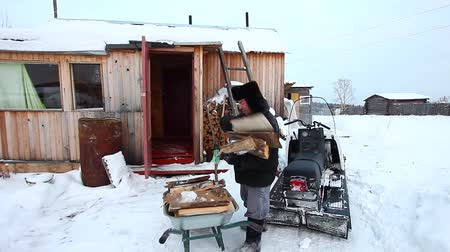 навес : An adult man prepares wood for the winter Стоковые видеозаписи