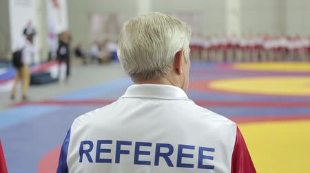 referee in the gym observes the competition
