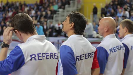 Four referees prepare for competitions Stock mozgókép