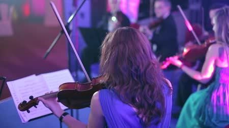 string instrument : Performance of the orchestra on stage Concert Hall Stock Footage