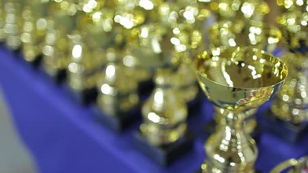 Golden sports cups for winning competitions