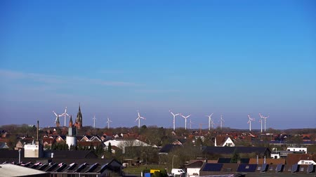 szélmalom : Aerial shot of energy producing wind turbines