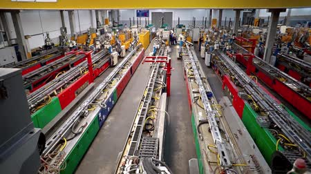 pvc frame : Machine in a production line assembling products Stock Footage