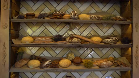 bagietka : Fresh Breads and baked goods large assortment in bakery shelves
