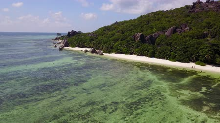 dominican : Seychelles fantastic drone shot in La Digue Stock Footage