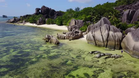 ladigue : Amazing landscape in synny day at La Digue with Seychelles fantastic rocks anse dargent 4K
