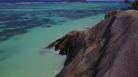 Amazing view from one island with rocks to another uninhabited islands drone footage 4K