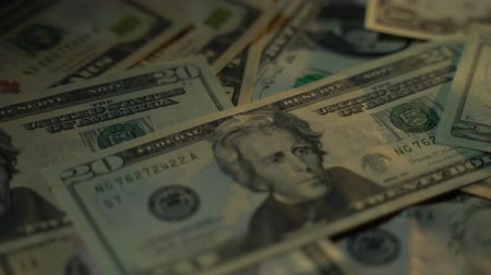 spadek : Many dollars of various denominations are piled up in a heap 4K Wideo