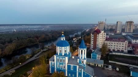 ortodoxia : Church on the river bank. Sunset, Autumn Stock Footage