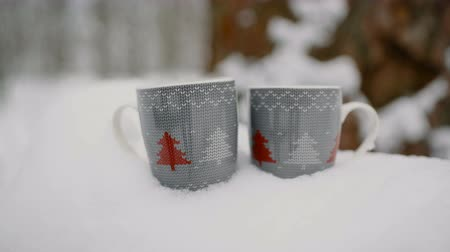 столовая гора : Two cups of hot tea, coffee or hot chocolate in the snow. close-up, 4к. Стоковые видеозаписи