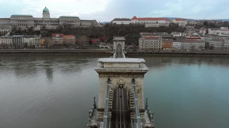 Budapest, Hungary. Top view on the Secheni Chain Bridge over the Danube River.
