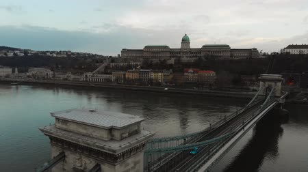 Hungary Budapest, aerial view of Buda Castle, 4к.