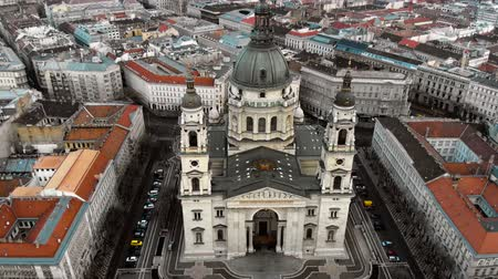 st stephen : Budapest cityscape and dome of St. Stephens Cathedral. Aerial view, 4k drone. Stock Footage