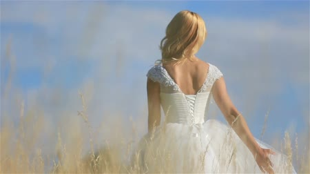 hayloft : Beautiful blonde bride walking and charmingly smiling in a wheat field in sunny summer day Stock Footage