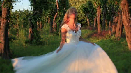 невеста : Beautiful blonde bride running in the green forest lit by sunbeams. Wonderful sunset at the countryside. Back view