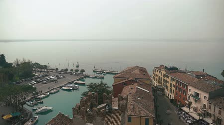 northen : Wonderful scenery of northen Itlay - Limone,  Lago di garda. Panoramic view Stock Footage