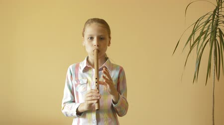 flet : little girl plays flute Wideo